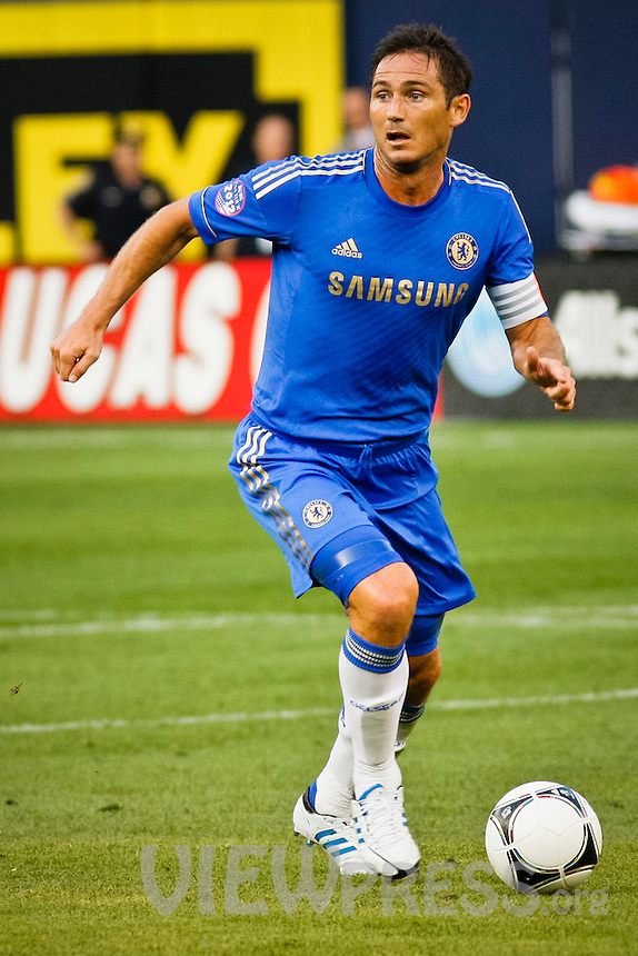 Chelsea FC player Frank Lampard  controls the ball during their soccer match against Paris Saint-German FC at the Yankee Stadium in New York, July 22, 2012. Photo by Eduardo Munoz Alvarez / VIEW.