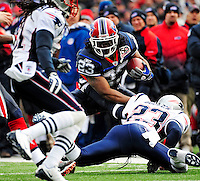 20 December 2009: Buffalo Bills' running back Marshawn Lynch rushes against the New England Patriots at Ralph Wilson Stadium in Orchard Park, New York. The Patriots defeated the Bills 17-10. Mandatory Credit: Ed Wolfstein Photo
