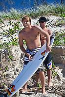BENJI WEATHERLY (USA) and SHANE DORIAN (HAW) surfing at DURANBAH BEACH, Australia ,   Photo: joliphotos.com