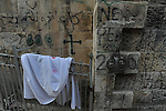 Christian graffiti on a wall at the Christian Quarter of Jerusalem's old city.