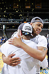 24 MAR 2012:  Paul Jones (right) and John Allen of Western Washington University celebrate after the game against the University of Montevallo during the Division II Men's Basketball Championship held at the Bank of Kentucky Center in Highland Heights, KY. Western Washington won the national title 72-65.  Joe Robbins/NCAA Photos