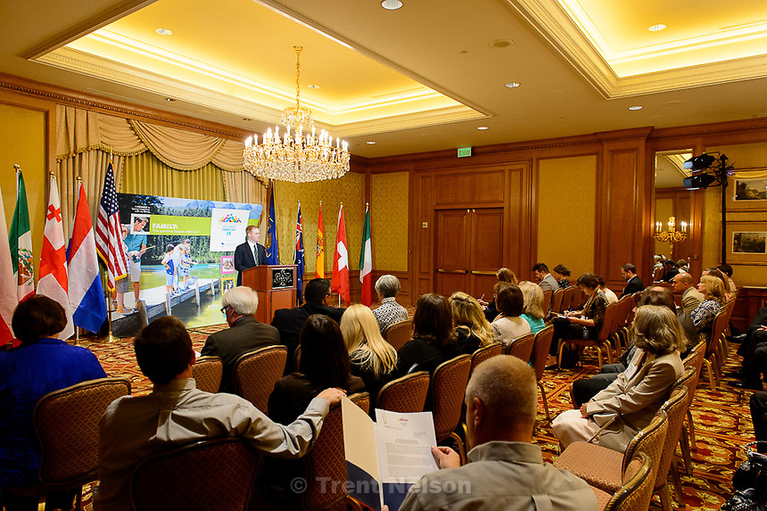 Trent Nelson  |  The Salt Lake Tribune<br /> Stanford Swim, Chairman of the Sutherland Institute, speaks as the World Congress of Families IX hold a press conference at the Grand America Hotel in Salt Lake City, Tuesday May 12, 2015 to talk about their upcoming October conference.