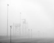 Poles and Goals<br /> <br /> Horsham Netball Courts in Morning Fog<br /> Horsham, Victoria
