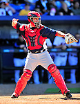 7 March 2010: Washington Nationals' catcher Jamie Burke in action during a Spring Training game against the New York Mets at Tradition Field in Port St. Lucie, Florida. The Mets edged out the Nationals 6-5 in Grapefruit League pre-season play. Mandatory Credit: Ed Wolfstein Photo