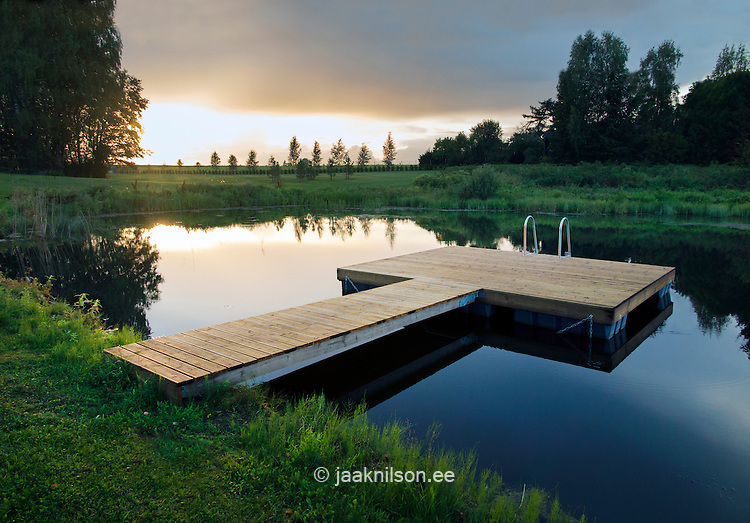 Wooden floating platform by lake. Sunset, green grass.