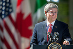 Canadian Prime Minister Stephen Harper makes remarks during a joint press conference with U.S. President Obama and President Felipe Calderon of Mexico, in the Rose Garden of the White House in Washington DC, USA, 02 April 2012. President Obama hosted Canadian Prime Minister Harper and Mexican President Calderon for the North American Leaders' Summit (NALS). The leaders discussed cooperation on a variety of issues including economic growth, security, energy and climate change.
