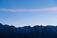 Sunset skyline of Mt. Whitney and Sierra Nevada Mountains, California, USA