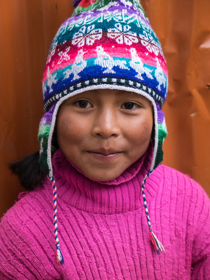AMANTANI ISLAND, PERU - CIRCA APRIL 2014: Portrait of girl in Amantani Island, Peru.