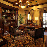 Eclectic office with masculine textures and patterns