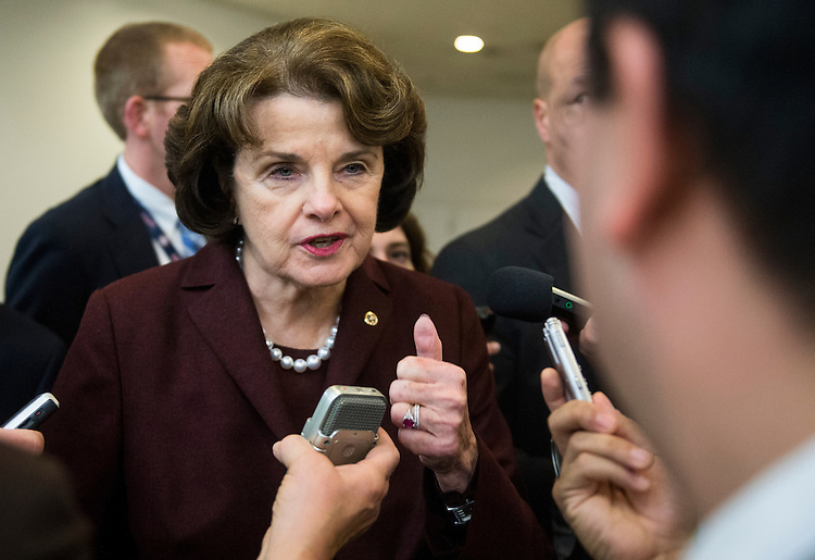 UNITED STATES - DECEMBER 18: Sen. Dianne Feinstein, D-Calif., speaks to reporters about the assault weapons ban as she arrives in the Capitol on Tuesday, Dec. 18, 2012, for the Senate Democrats' policy lunch. (Photo By Bill Clark/CQ Roll Call)