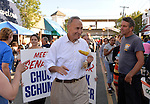 "Bellmore, New York, U.S. 22nd September 2013. U.S. Senator CHARLES ""CHUCK"" SCHUMER  (Democrat), running for re-election in November, makes a campaign visit at the 27th Annual Bellmore Festival, featuring family fun with exhibits and attractions in a 25 square block area, with over 120,000 people expected to attend over the weekend."