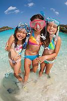Kids with snorkel gear at the beach<br /> Trunk Bay, St. John<br /> U.S. Virgin Islands