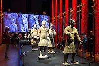 Sculpture figures of Terracotta warriors of Qin Emperor's army exhibit on display at MOMU Moesgaard Museum, Hojbjerg, Denmark