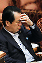 File photo: June 3, 2011, Tokyo, Japan - Japan's Prime Minister, Naoto Kan, looking weary and worn out, attends an upper house budget committee meeting in the Diet in Tokyo. Kan officially announced his resignation on August 26, 2011. (Photo by AFLO)