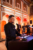 Nik Senapati, Managing Director of Argyle Diamonds, gives a speech before a violin recital at the OzFest Gala Dinner in the Jaipur City Palace, in Rajasthan, India on 10 January 2013. Photo by Suzanne Lee