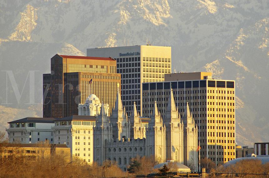 evening lighting Salt Lake City Utah winter cityscape.