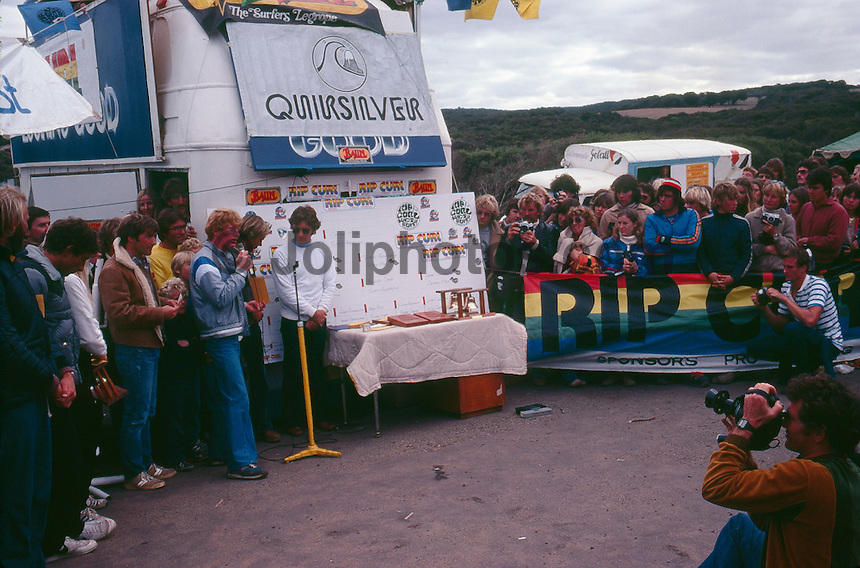 Bells Beach, Torquay, Victoria, Australia. The presentation of the Rip Curl Bells Beach Easter Classic 1981 with  Rod Brooks (AUS), Bobby Owens (HAW(, Rip Curl Founder Doug 'Claw' Warbrick (AUS), Quiksilver founder John Law (AUS) and Surfing Australia's Alan Atkins (AUS), ..Photo: joliphotos