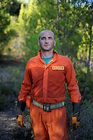 Isola di Pianosa.Pianosa Island.Marco Dintrono, volontario del servizio antincendio boschivo dell' associazione La Racchetta.Volunteer fire fighting service of  The Racket Association..