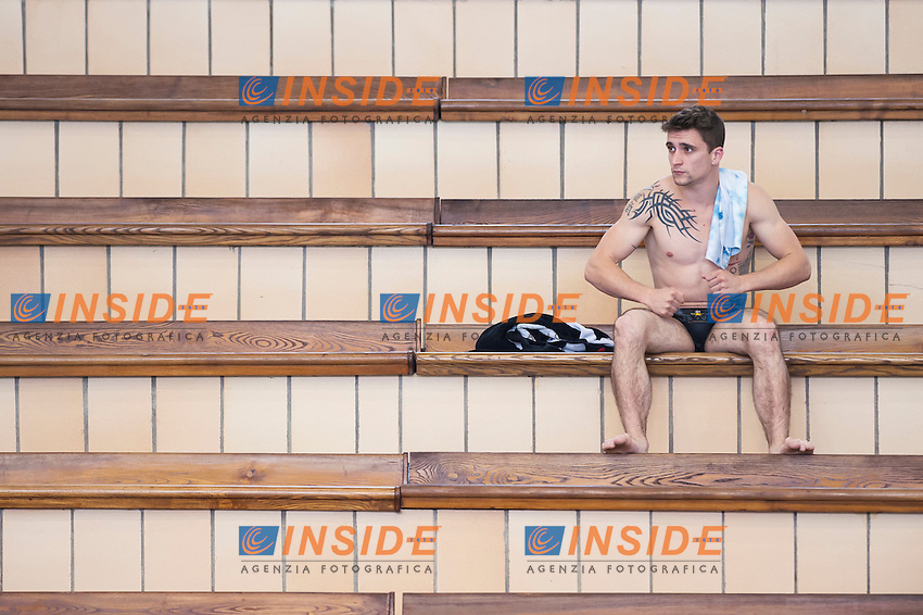 Matthieu Rosset FRA gold medal<br /> Springboard 1m Men final<br /> Day 02 10/06/2015  <br /> 2015 Arena European Diving Championships<br /> Neptun Schwimmhalle<br /> Rostock Germany 09-14 June 2015 <br /> Photo Giorgio Perottino/Deepbluemedia/Insidefoto