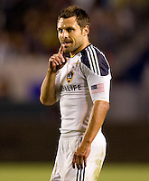 LA Galaxy midfielder Dema Kovalenko lets it be known. The LA Galaxy defeated the New England Revolution 1-0 at Home Depot Center stadium in Carson, California on Saturday evening March 27, 2010.  .