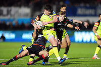 Freddie Burns of Leicester Tigers takes on the Saracens defence. Anglo-Welsh Cup match, between Saracens and Leicester Tigers on February 5, 2017 at Allianz Park in London, England. Photo by: Patrick Khachfe / JMP