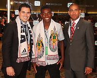 Victor Estupinan with Chivas USA staff at the 2011 MLS Superdraft, in Baltimore, Maryland on January 13, 2010.