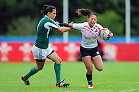 Misaki Suzuki of Japan takes on the Portugal defence. FISU World University Championship Rugby Sevens Women's 3rd/4th Play-off between Portugal and Japan on July 9, 2016 at the Swansea University International Sports Village in Swansea, Wales. Photo by: Patrick Khachfe / Onside Images