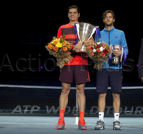 27.09.2015. Sibur Arena, St Peterburg, Russia. ATP St Petersburg singles final. MILOS RAONIC (CAN)versus JOAO SOUSA (POR). Raonic won the final in 3 sets 6-3, 3-6, 6-3 to take the title<br /> <br /> <br /> <br /> Tennis St Petersburg Open 2015 Sibur Arena Final MilRaonic CAN  Sousa POR