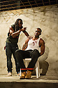 London, UK. 02.04.2014. Theatre Royal Stratford East presents Roy Williams' KINGSTON 14. Picture shows: Tyson Oba (as Boss Man) and Charles Venn (as Carl). Photograph © Jane Hobson.
