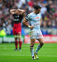 Dan Carter of Racing 92 looks dejected during a break in play. European Rugby Champions Cup Final, between Saracens and Racing 92 on May 14, 2016 at the Grand Stade de Lyon in Lyon, France. Photo by: Patrick Khachfe / Onside Images