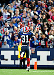 1 November 2009: Buffalo Bills' cornerback Jairus Byrd celebrates an interception during a game against the Houston Texans at Ralph Wilson Stadium in Orchard Park, New York, USA. The Texans defeated the Bills 31-10. Mandatory Credit: Ed Wolfstein Photo