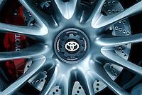The Toyota logo is pictured on the wheel during the International Auto Show 2015 in New York. 04.06.2015. Eduardo MunozAlvarez/VIEWpress.
