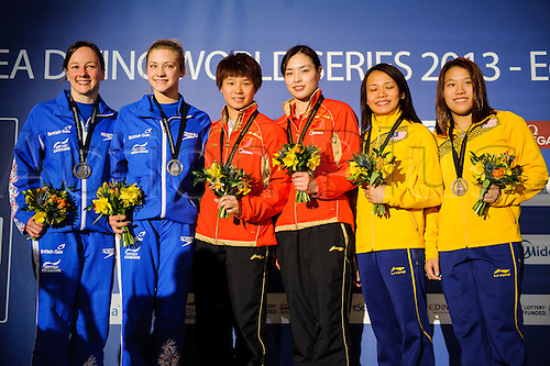 19.04.2013 Edinburgh, Scotland. The podium for the Womens 3m Synchronised Springboard Final (L-R Bronze medallists Rebecca Gallantree & Alicia Blagg of Great Britain (GBR), Gold medllists Wu Minxia & Shi Tingmao of China (CHN) and Bronze medallists Yee Ng Yan & Hoong Cheong Jun of Malaysia (MAS)) on Day 1 of the FINA/Midea Diving World Series 2013 at the Royal Commonwealth Pool in Edinburgh.
