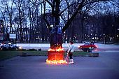 Radom, April 2, 2011.Woman standing by the monument of pope John Paul 2 on the 6-th anniversary of his death.. (Photo by Piotr Malecki / Napo Images)..Radom, 2/04/2011:.Pomnik papieza Jana Pawla II pod katedra Radomiu.Fot: Piotr Malecki / Forum