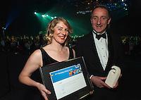 BRANZ's Chelydra Percy (left) and Mark Dossor.  Wellington Gold Awards at TSB Bank Arena, Wellington, New Zealand on Thursday, 9 July 2015. Photo: Dave Lintott / lintottphoto.co.nz