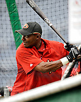 10 July 2008: Arizona Diamondbacks' second baseman Orlando Hudson takes batting practice prior to a game against the Washington Nationals at Nationals Park in Washington, DC. The Diamondbacks defeated the Nationals 7-5 in 11 innings to take the rubber match of their 3-game series in the Nation's Capitol...Mandatory Photo Credit: Ed Wolfstein Photo