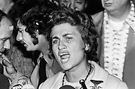 """28 Sep 1972, Queens, New York City, New York State, USA --- Three US GIs liberated by the North-Vietnamese authorities arriving at JFK New York Airport. The activist leaders, Cora Weiss (pictured), David Dellinger, and the Reverend William Sloane Coffin from the Committee of Liaison with Families of Servicemen Detained in North Vietnam (COLIFAM) accompanied the three US fighter pilots from Hanoi, via Beijing, Moscow and Copenhagen. The American Military Authorities did not succeed in """"removing"""" upon their arrival. --- Image by © JP Laffont"""