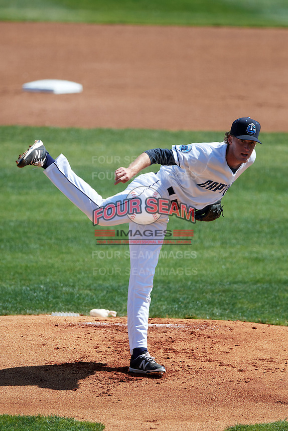 Lake County Captains starting pitcher Micah Miniard (25) during a game against the South Bend Cubs on July 27, 2016 at Classic Park in Eastlake, Ohio.  Lake County defeated South Bend 5-4.  (Mike Janes/Four Seam Images)