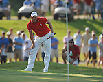 Robert Karlsson chips on the 12th hole in a playoff at the PGA FedEx St. Jude Classic at TPC Southwind in Memphis, Tenn. on Sunday, June 12, 2011. Harrison Frazar won the tournament on the third playoff hole against Robert Karlsson. The victory was Frazar's first ever on the PGA tour.