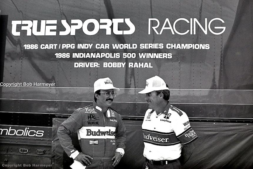 PHOENIX, AZ - APRIL 12: Bobby Rahal (left) and crew chief Steve Horne (right) at the Checker 200 on April 12, 1987, at Phoenix International Raceway near Phoenix, Arizona.