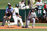 28 May 2016: Cal Poly Pomona's Jared James (19) beats a pickoff throw to SIU's Andrew Cope (right). The Cal Poly Pomona Broncos played the Southern Indiana Eagles in Game 2 of the 2016 NCAA Division II College World Series  at Coleman Field at the USA Baseball National Training Complex in Cary, North Carolina. Cal Poly Pomona won the game 2-1 in ten innings.