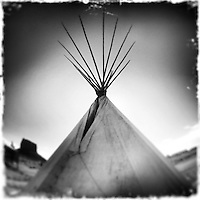 Monument Valley - Arizona - Tipi - Tepee - Lodge - Black and White Photography<br />