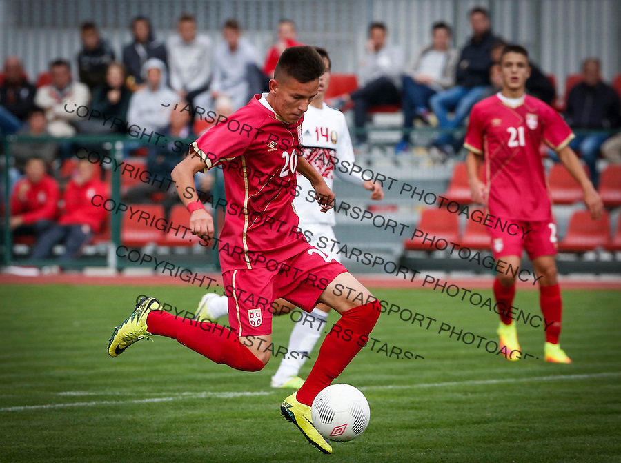 Fudbal Soccer<br /> International Friendly-Prijateljski mec<br /> Srbija U17 v Belorusiaj U17<br /> Mihajlo Neskovic (L)<br /> Stara Pazova, 20.09.2016<br /> foto: Srdjan Stevanovic/Starsportphoto &copy;