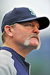 21 June 2011: Seattle Mariners Manager Eric Wedge stands in the dugout prior to a game against the Washington Nationals at Nationals Park in Washington, District of Columbia. The Nationals rallied from a 5-1 deficit, scoring 5 runs in the bottom of the 9th, to defeat the Mariners 6-5 in inter-league play. Mandatory Credit: Ed Wolfstein Photo