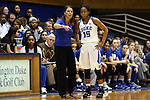 01 February 2016: Duke head coach Joanne P. McCallie (left) talks to Kyra Lambert (15). The Duke University Blue Devils hosted the University of Notre Dame Fighting Irish at Cameron Indoor Stadium in Durham, North Carolina in a 2015-16 NCAA Division I Women's Basketball game. Notre Dame won the game 68-61.