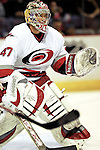 6 February 2007: Carolina Hurricanes goaltender John Grahame warms up prior to a game against the Montreal Canadiens at the Bell Centre in Montreal, Canada. The Hurricanes defeated the Canadiens 2-1.....Mandatory Photo Credit: Ed Wolfstein *** Editorial Sales through Icon Sports Media *** www.iconsportsmedia.com