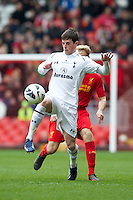 LIVERPOOL, ENGLAND - Easter Monday, April 1, 2013: Tottenham Hotspur's Kenneth McEvoy in action against Liverpool during the Under 21 FA Premier League match at Anfield. (Pic by David Rawcliffe/Propaganda)