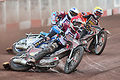 Heat 5: Adam Shields (red), Piotr Swiderski (blue) and Tyron Proctor - Lakeside Hammers vs Wolverhampton Wolves - Elite League Speedway at Arena Essex Raceway - 16/05/11 - MANDATORY CREDIT: Gavin Ellis/TGSPHOTO - Self billing applies where appropriate - Tel: 0845 094 6026