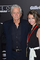 Actor Michael Douglas with daughter Carys at the world premiere of &quot;Rogue One: A Star Wars Story&quot; at The Pantages Theatre, Hollywood. <br /> December 10, 2016<br /> Picture: Paul Smith/Featureflash/SilverHub 0208 004 5359/ 07711 972644 Editors@silverhubmedia.com