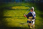 Man fly fishing on the American River, Weimar, California.